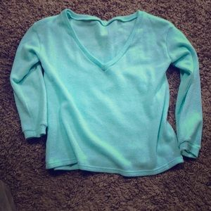 Sweaters - NWOT‼️Off the shoulder VNeck sweater. Turquoise